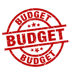 Budget round red grunge stamp vector