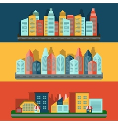 Citescape icons composition banner vector image vector image