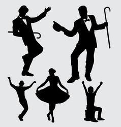 entertainer male and female silhouette vector image vector image