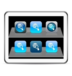 Global search blue app icons vector image