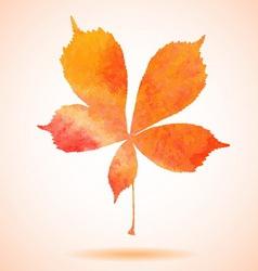 Orange watercolor painted chestnut leaf vector image vector image
