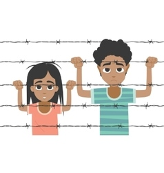 Refugee boy and girl behind barbed wire vector image