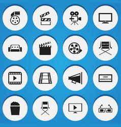set of 16 editable cinema icons includes symbols vector image