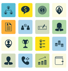 Set of 16 human resources icons includes manager vector