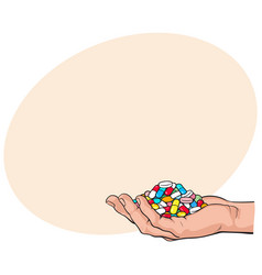 side view hand holding pile handful of pills vector image