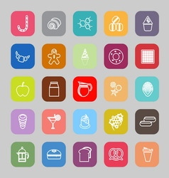 Sweet food line flat icons vector image