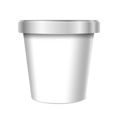 White Food Plastic Tub Bucket Container vector image