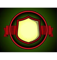 Woodcut shield label vector image