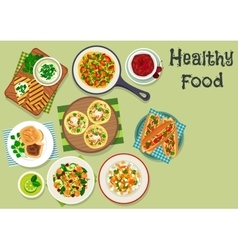 Breakfast dishes icon for healty menu design vector image