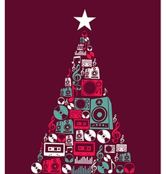 Christmas music objects tree vector image vector image