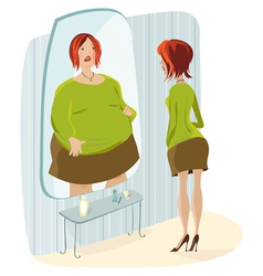 slim lady and her fat reflection vector image