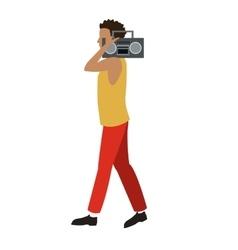 Young man walk music radio player vector