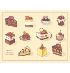 Colored sketches of cupcakes berry pie and vector image vector image