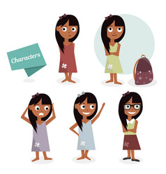 kids characters cartoon girls set vector image vector image