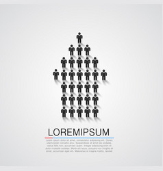 peoples silhouettes in the shape of an arrow vector image