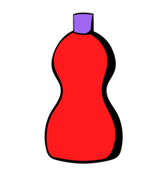 Red plastic bottle of detergent icon icon cartoon vector