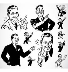 Retro men pointing vector