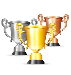 Set of Gold Silver and Bronze Trophies vector image vector image
