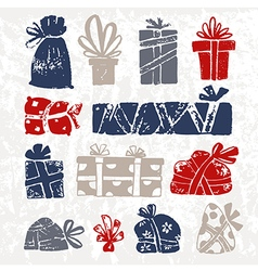 set of hand drawn sketch gifts doodle style vector image vector image