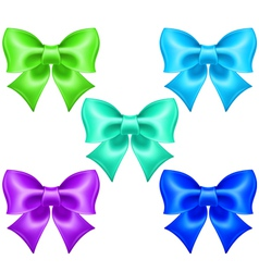Silk bows in cool colors vector image vector image