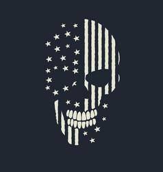 Skull made like the american flag vector