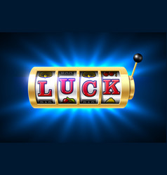 slot machine with luck word one-armed bandit vector image vector image
