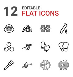 12 fight icons vector