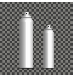 3d realistic silver foam bottles with plastic caps vector image
