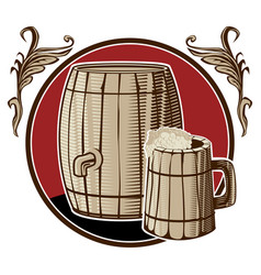 a barrel of beer and a mug in a circle with vector image
