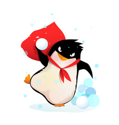 Angry penguin in hat playing throwing snowballs vector