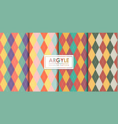 Argyle seamless pattern set decorative wallpaper vector