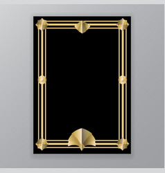 Art deco template golden-black a4 page menu vector