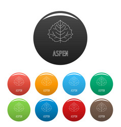 Aspen leaf icons set color vector