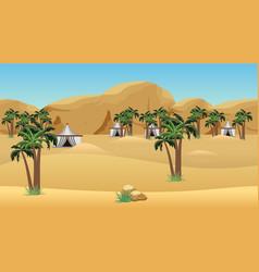 Bedouin camp in desert landscape for cartoon vector