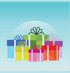 big pile of colorful wrapped gift boxes vector image vector image