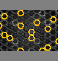 black and orange glossy hexagons metallic texture vector image