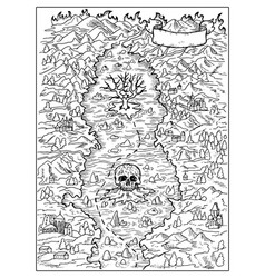 black and white marine map vector image