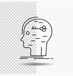 Brain hack hacking key mind line icon on vector