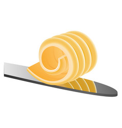 butter on knife icon realistic style vector image