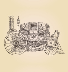 Carriage steam punk vintage engraved vector