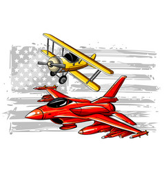 Cartoon fighter plane twin-engine vector
