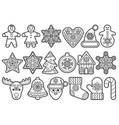christmas and new year outline objects set vector image