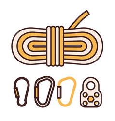climbing rope and carabiner icons vector image