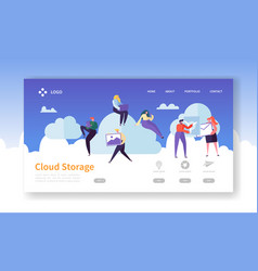 cloud storage technology landing page template vector image