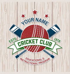 cricket club badge concept for shirt vector image
