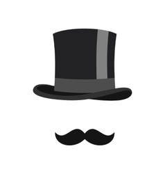 Cylinder and moustaches icon flat style vector