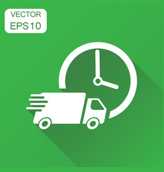 delivery 24h truck with clock icon business vector image