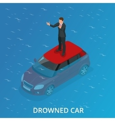 Drowned car A car accident drowned Flat 3d vector