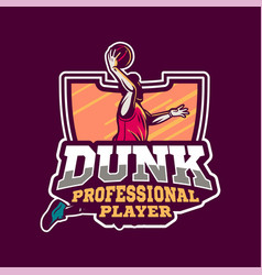 dunk professional player in modern sign or badge vector image