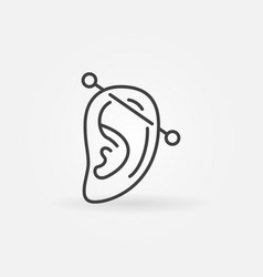 Ear piercing outline icon ear with vector